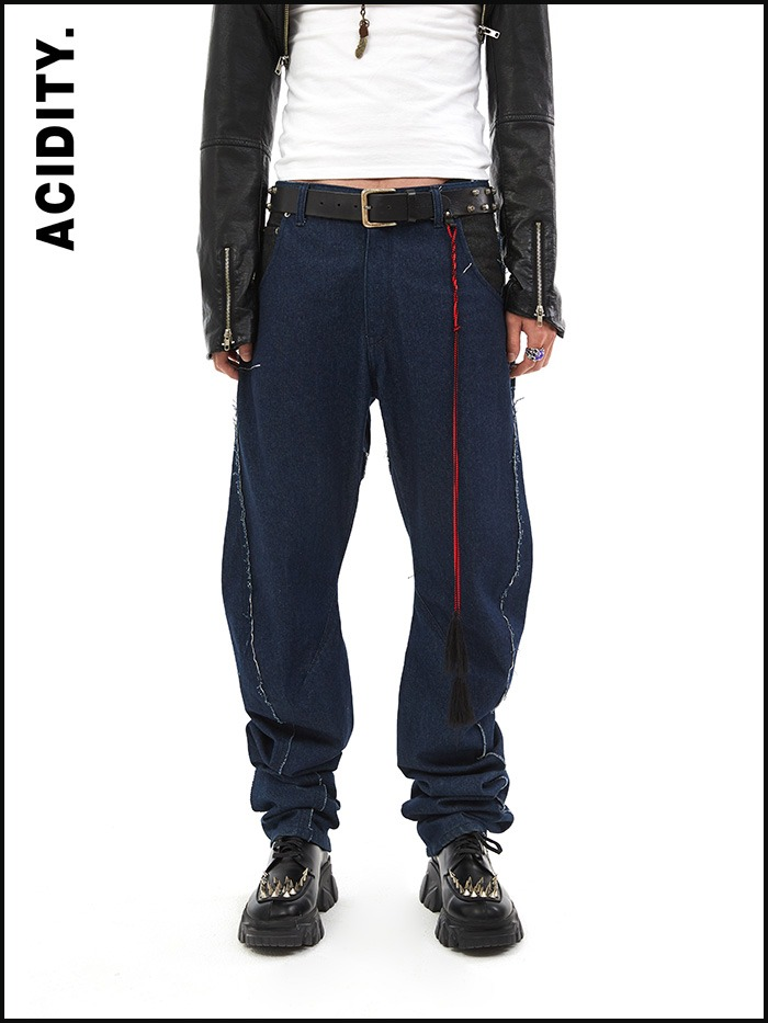 [ACIDITY] wrinkle denim pants (blue)